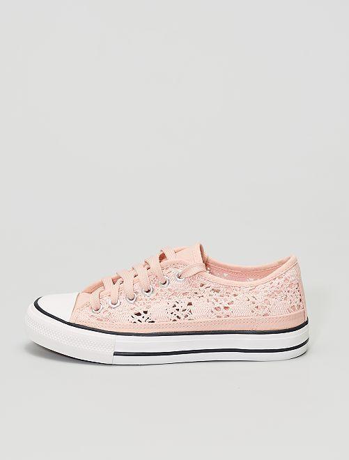 Sneakers basse in pizzo e in macramè                                                     rosa