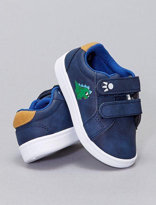 Sneakers basse in similpelle                             blu navy