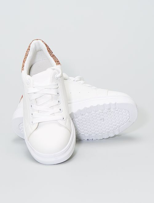 Sneakers bianche con paillettes                             beige scuro