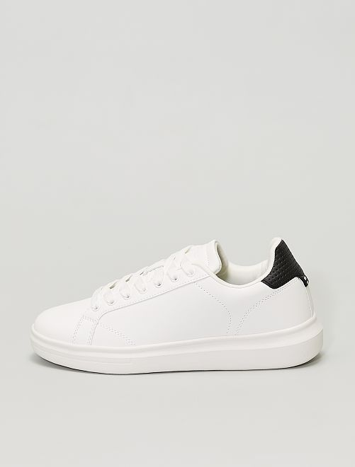 Sneakers bianche in similpelle                             BIANCO