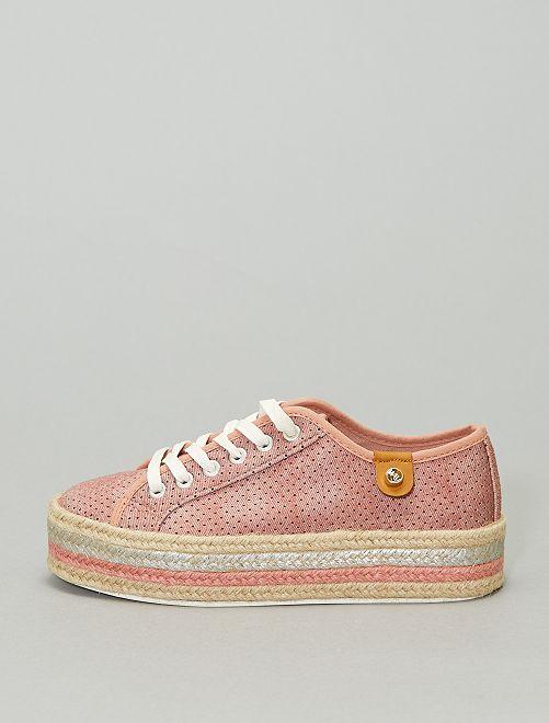 Sneakers con lacci e suola in corda                             rosa