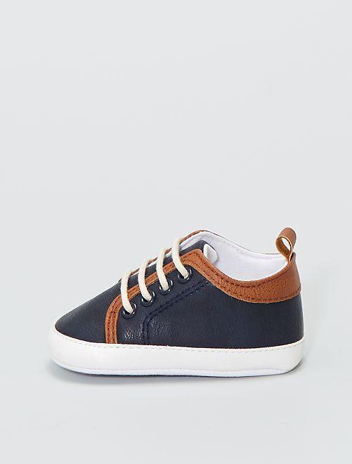 Sneakers con lacci effetto pelle                             blu