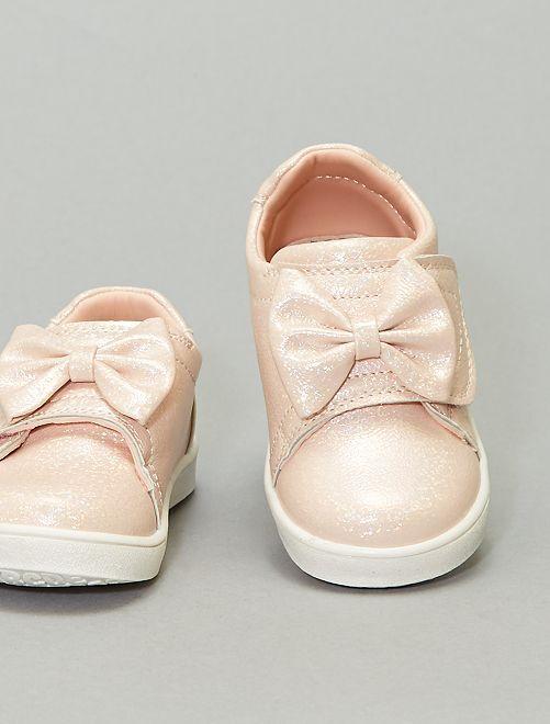 Sneakers con paillettes a strappo                             rosa