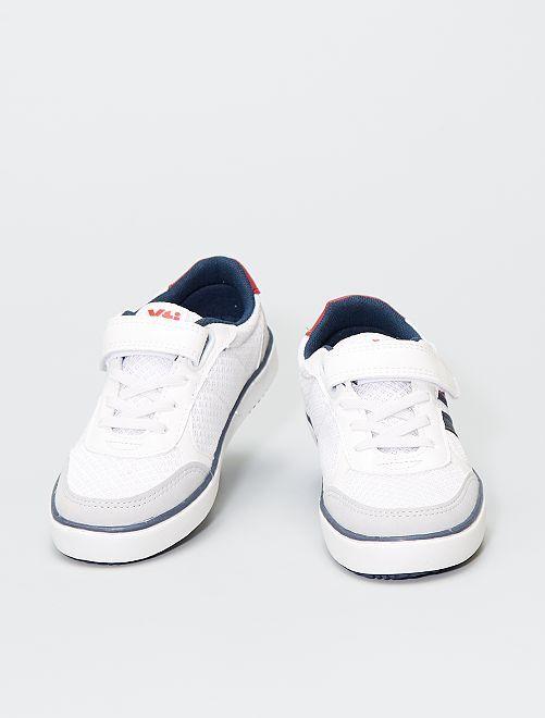 Sneakers con strappi e lacci elasticizzati                             bianco