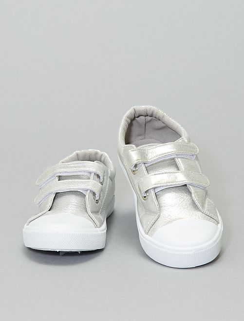 Sneakers in similpelle iridescente                                         argento