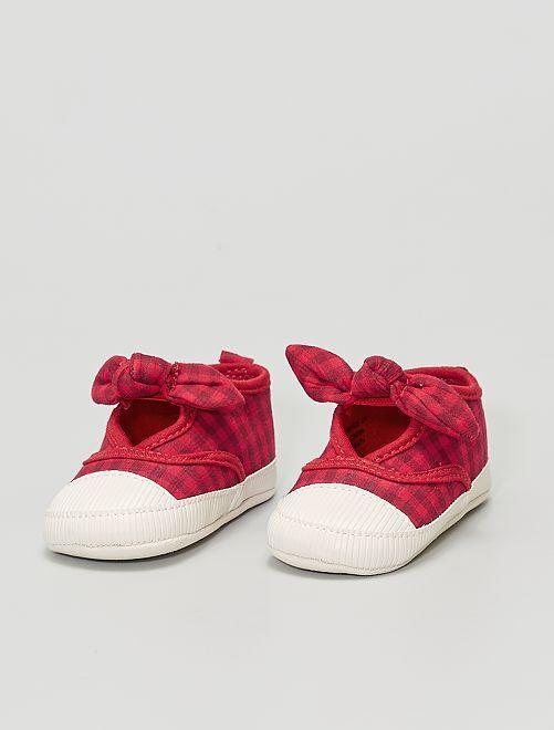 Sneakers in tela con fiocchi                             ROSSO