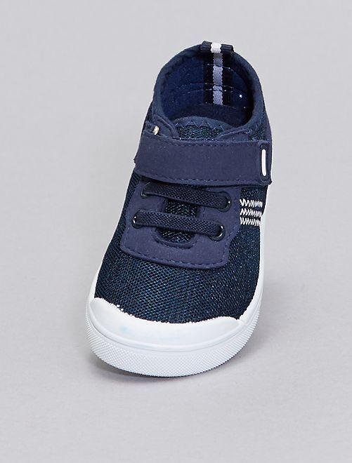 Sneakers in tela con lacci elasticizzati                             blu