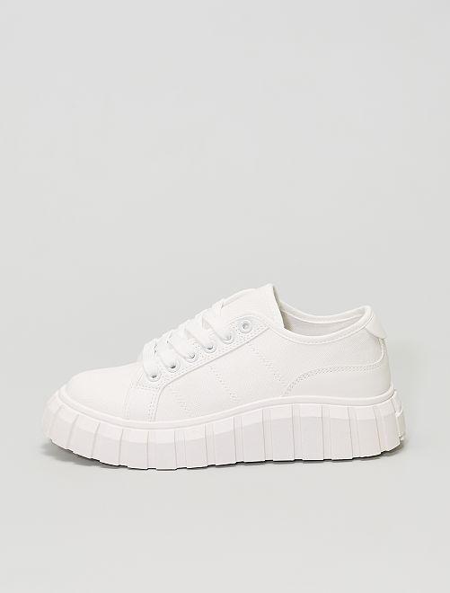 Sneakers in tela con suola spessa                             bianco