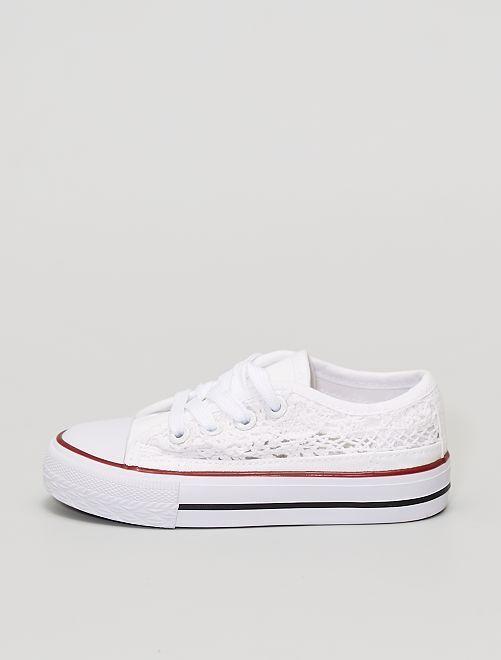 Sneakers in tela dentellata                             bianco