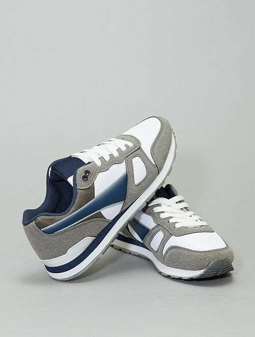 Sneakers multi-materiale                             grigio