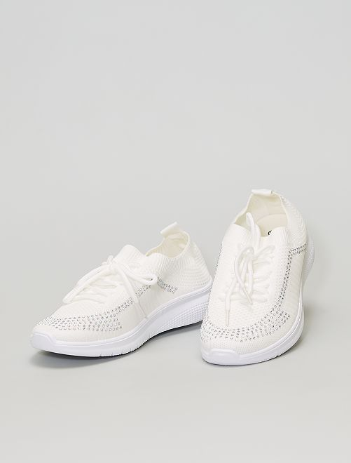 Sneakers pantofole in mesh                             bianco