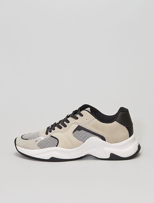 Sneakers running in finto camoscio e mesh                             grigio