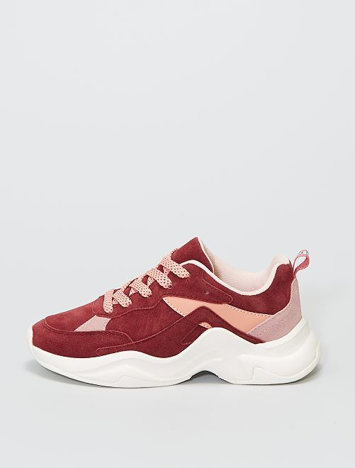 Sneakers running in finto camoscio                             rosa