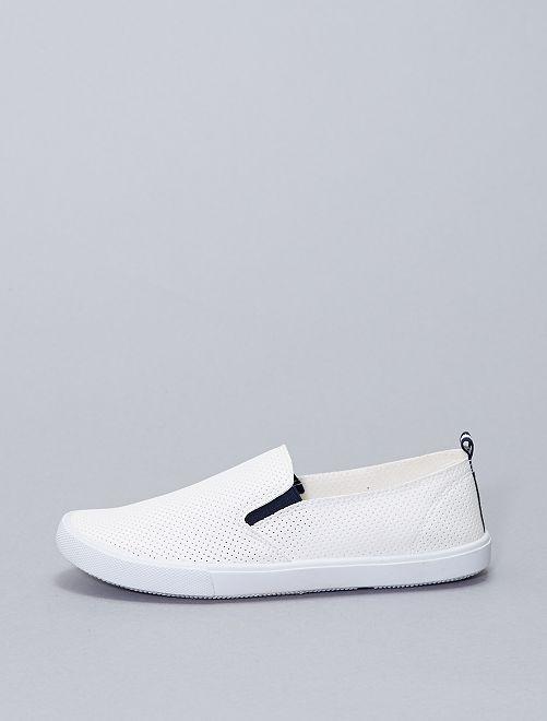 Sneakers senza lacci con traforatura fantasia                             bianco