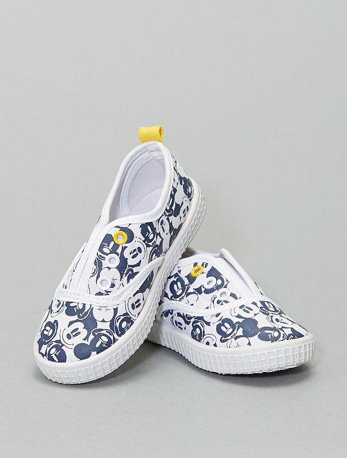 Sneakers senza lacci in tela 'Mickey Mouse'                             bianco