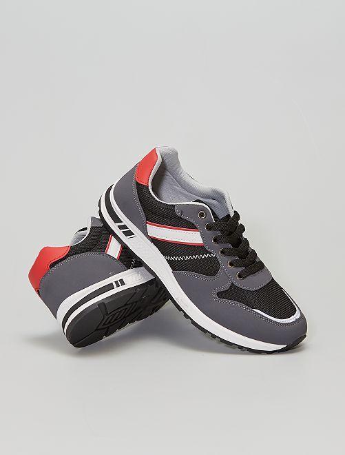 Sneakers tipo running bicolore                             nero