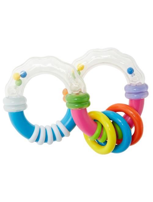 Sonaglino disarticolato con anelli                             transparente/rosa/blu