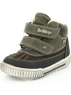 Scarpe bebé - Stivaletti chiusura a strappo foderati di pelliccia stile scarpe da ginnastica