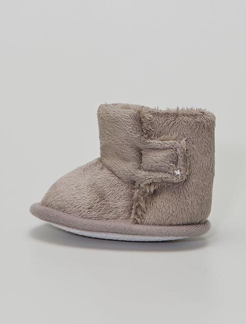Stivaletti pantofole in maglia peluche                                 GRIGIO