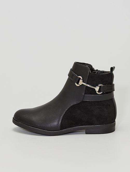 Stivali bimateriale con fibbia in stile equestre                             nero