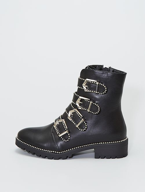 Stivali con cinturini con borchie                             nero