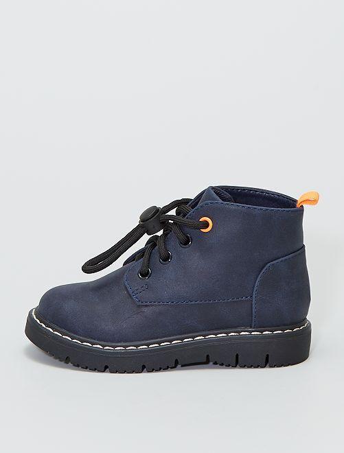 Stivali con cordoncini e coulisse                             blu navy