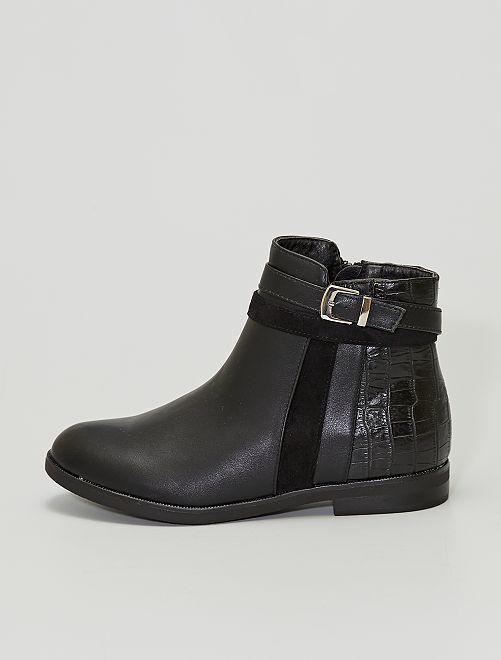 Stivali con dettaglio velluto e coccodrillo                             nero