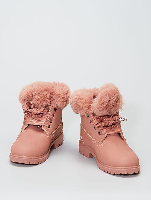 Stivali con girocaviglia in pelliccia                                                                 rosa