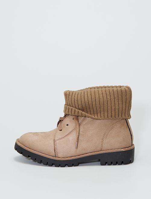 Stivali con risvolto alla caviglia stile calzino                                         kaki
