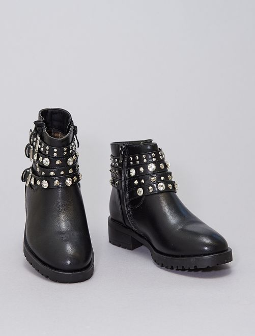 Stivali con strass e borchie                             nero