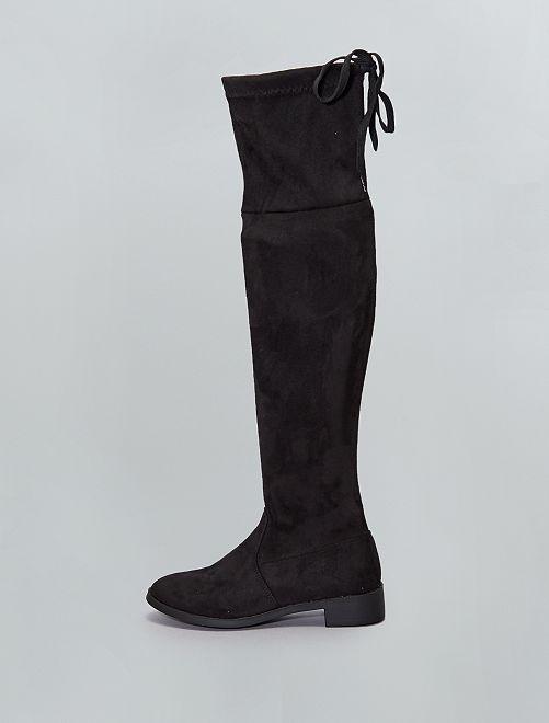 Stivali cuissardes in finto camoscio                             nero