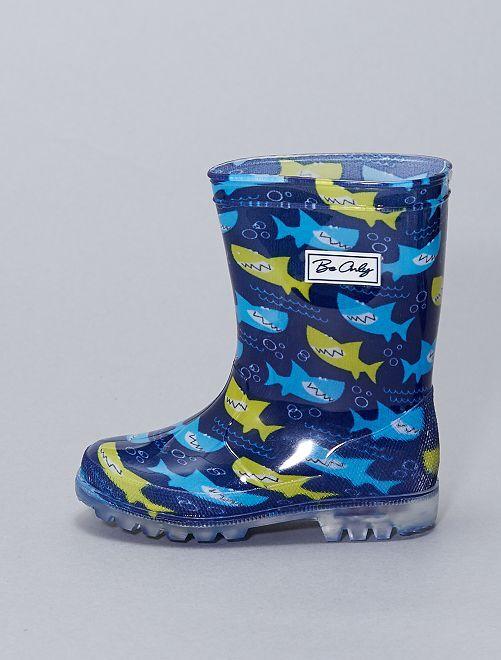 Stivali da pioggia con suole luminose                             blu
