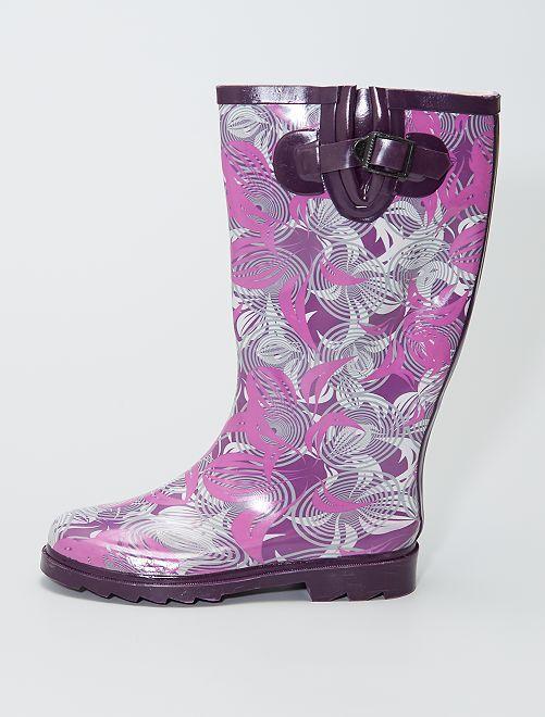 Stivali da pioggia in gomma con stampa spirali                             VIOLA