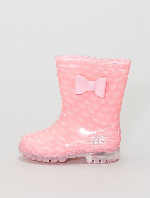 Stivali da pioggia suola luminosa                             rosa
