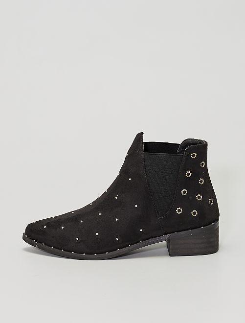 Stivali in stile 'Chelsea' con borchie                             nero
