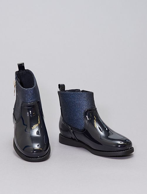 Stivali in vernice con paillettes                             BLU