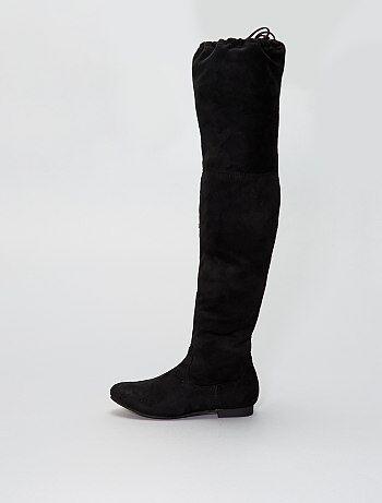 Stivali sopra il ginocchio piatti pelle scamosciata - Kiabi