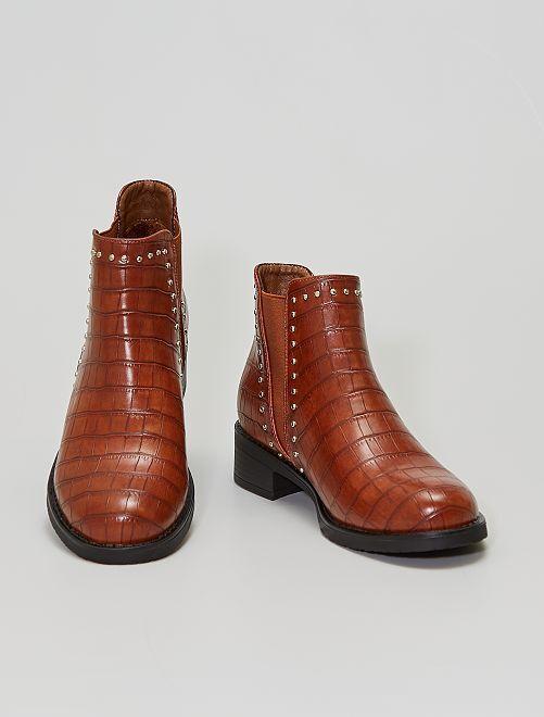 Stivali stile chelsea effetto coccodrillo                                         cammello
