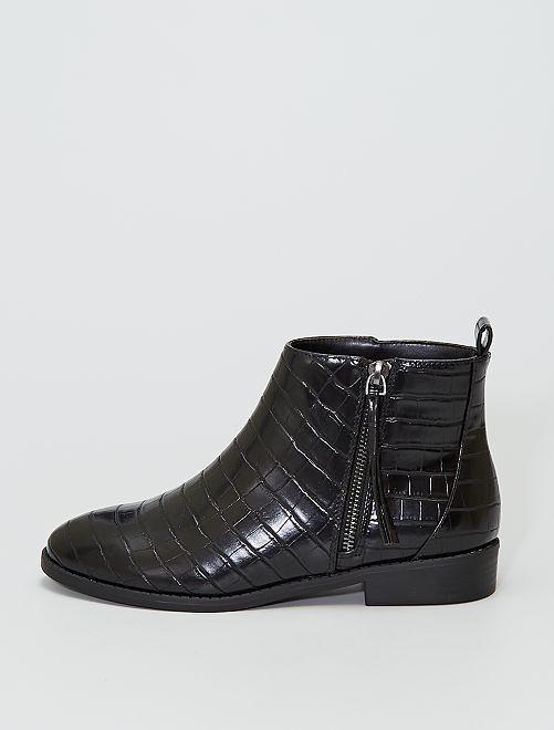 Stivali stile 'pelle di coccodrillo'                             NERO