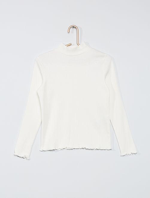 T-shirt a coste                                                                 bianco neve