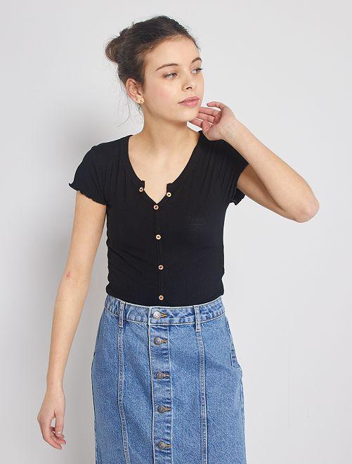 T-shirt a coste con bottoni                                                                                                     nero