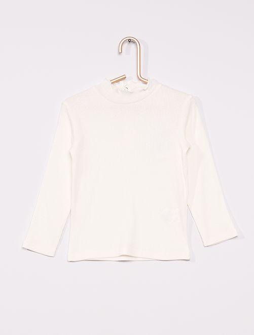T-shirt a coste con collo arricciato                                                                 bianco neve
