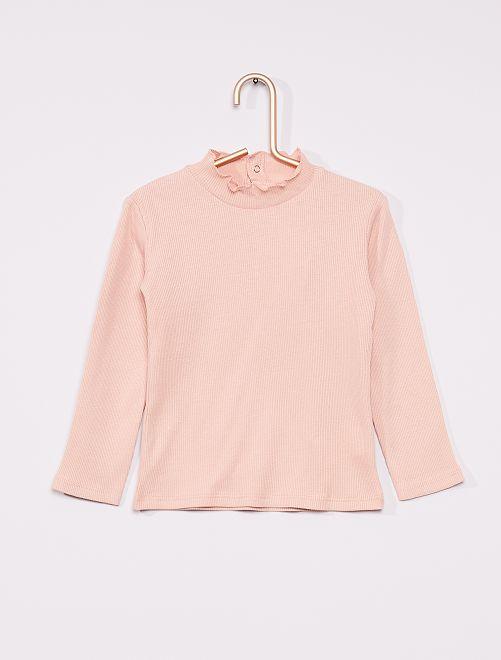 T-shirt a coste con collo arricciato                                                                 ROSA