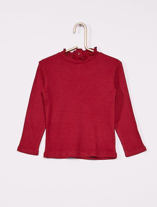 T-shirt a coste con collo arricciato                                                                 rosso bordeaux