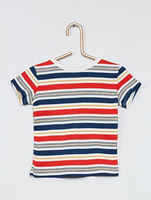 T-shirt a coste multicolore                                         BIANCO