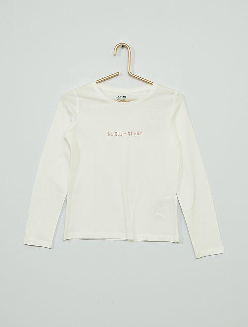 T-shirt a maniche lunghe stampata                                                                                         BIANCO