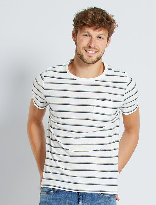 T-shirt a righe con taschino                                                                 BIANCO