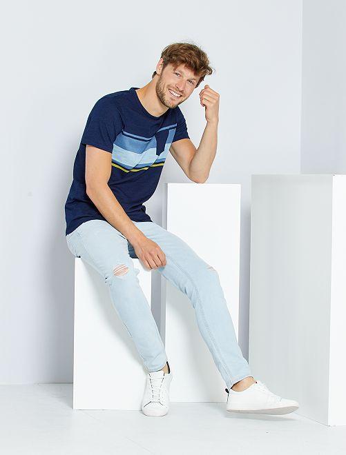 T-shirt a righe con taschino                                                                 BLU