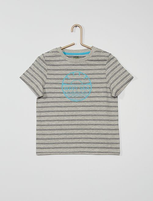 T-shirt a righe e stampata                                         GRIGIO