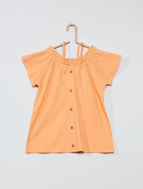 T-shirt bardot abbottonata                     corallo